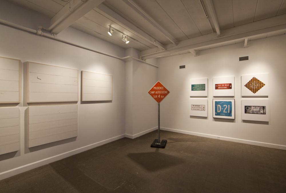 Exposition à / Exhibition at Langage Plus, Alma, Qc. Hydro Cree, Histoires de tôles, Voyage au bout de la route 138. 2015.