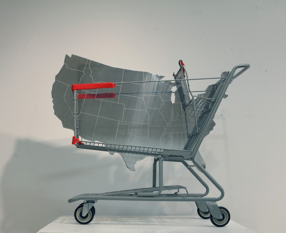 US Shopping Cart, 2017. aluminum plate (3/4 inch), ionized engraving, shopping cart. Dimensions: 110 x 130 x 60 cm.