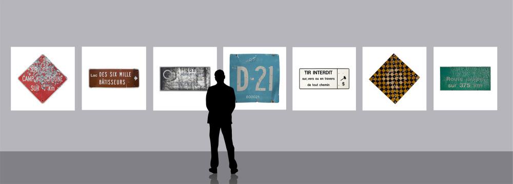 Hydro Cree : Panneaux Routiers / Road Pannels, 2015.  Série de 7 impressions jet d'encre sur  toile. Series of 7 inkjet printing on canvas.