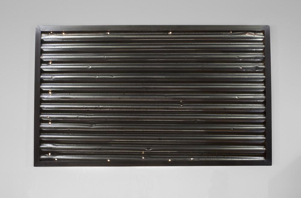 Tôle - Sheet Metal, 2014 Tôle ondulée de Baie Johan Beetz, diodes, cadre d'aluminium) / Sheet Metal from Bay Johan Beetz, LED, aluminum frame).