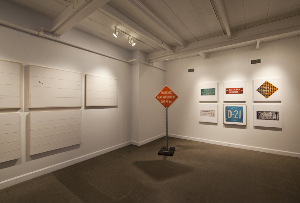 Hydro Cree, 2015. 6 prints on canvas / 6 impressions jet d'encre sur toile. 2 panneaux signalétiques sur poteau / 2 road signs on pole. 3 vidéos / videos.